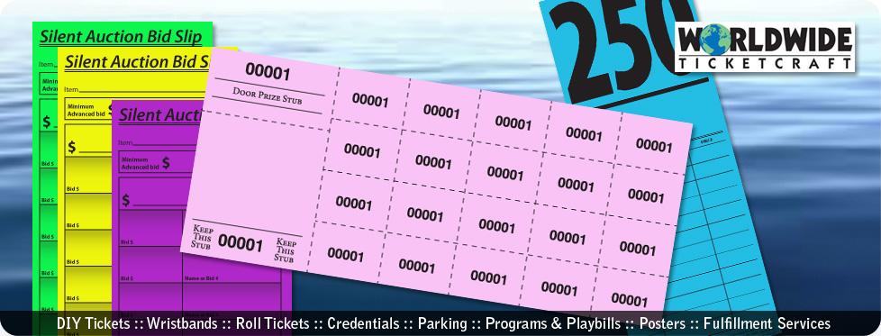 New Acution and Raffle Tickets :: Bid Slips, Chinese Raffle Tickets, Bid Cards, Custom Chinese Raffle Tickets